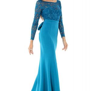rochie lunga albastra cu funda dr3164 6311 1