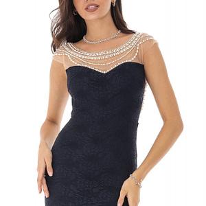 rochie lunga bleumarin cu perle roh dr3984 8864 1