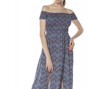 rochie maxi albastra incretita la bust roh dr3809 8304 1