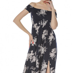 rochie maxi bleumarin cu imprimeu crem roh dr3811 8308 1