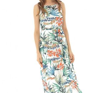 rochie maxi crem cu imprimeu tropical dr3815 8343 1