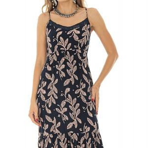 rochie maxi cu bretele ajustabile si volane roh dr3891 8586 1
