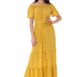 rochie maxi cu umeri goi mustar roh dr4153 9297 1