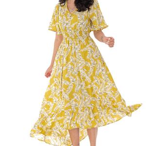 rochie maxi de vara cu imprimeu frunze galben dr4156 9303 1