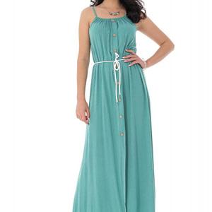 rochie maxi de vara cu nasturi turcoaz roh dr4155 9299 1