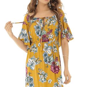 rochie maxi florala cu umeri cazuti roh dr3839 8448 1
