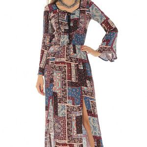 rochie maxi imprimata multicolor roh dr3874 8563 1