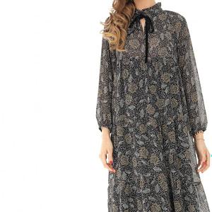 rochie maxi neagra cu maneca lunga roh dr3782 8250 1