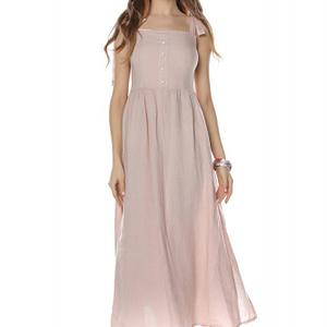 rochie maxi roz cu bretele roh dr3742 8114 1