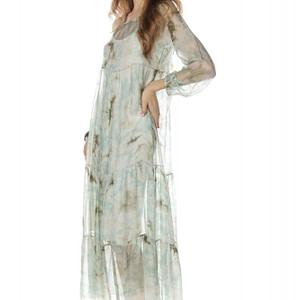rochie maxi verde cu imprimeu floral roh dr3715 8069 1