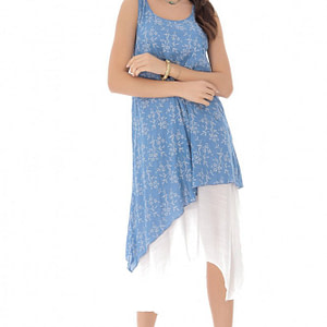 rochie midi albastra cu imprimeu floral delicat roh dr3813 8310 1
