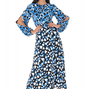 rochie midi albastra cu imprimeu inimi roh dr4067 9099 1