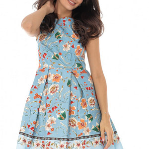 rochie midi albastra cu pliuri roh dr3854 8511 1