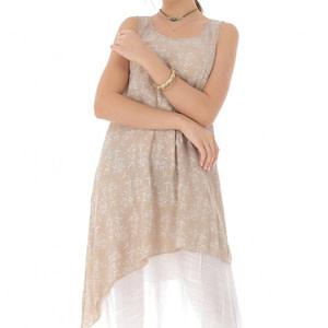 rochie midi bej cu imprimeu floral delicat roh dr3812 8309 1