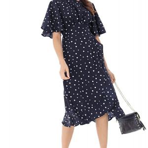 rochie midi bleumarin cu buline roh dr4075 9114 1
