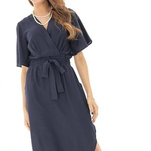 rochie midi bleumarin cu maneci clopot roh dr3817 8346 1