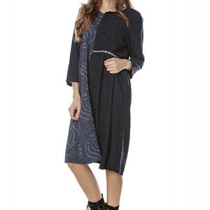 rochie midi bleumarin din doua tesaturi roh dr3752 8039 1
