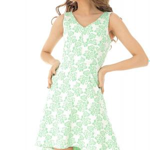 rochie midi crem cu verde roh cld1119 8319 1