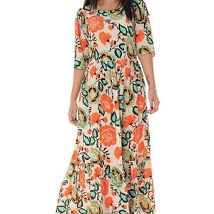 rochie midi cu maneci bufante portocaliu dr4161 9364 1