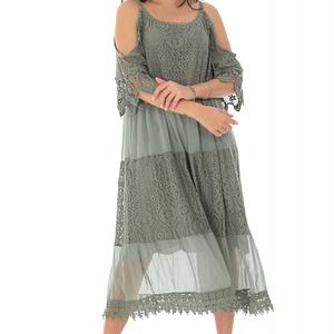 rochie midi de vara cu broderie kaki roh dr4214 9503 1