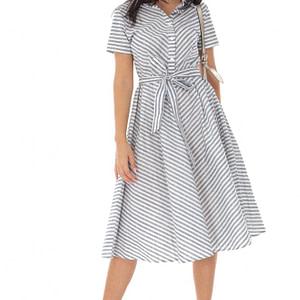rochie midi din bumbac in dungi albastru alb roh dr4217 9506 1