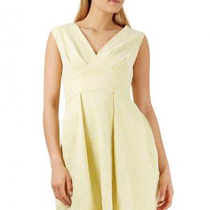 rochie midi galbena cu insertii lurex roh cld1116 8316 1