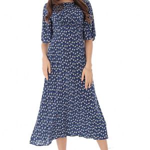rochie midi imprimata cu maneci evazate roh dr4090 9149 1
