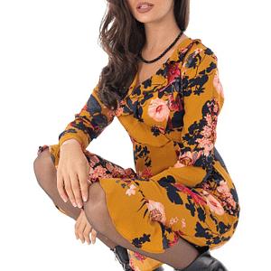 rochie midi mustar cu imprimeu floral roh dr3978 8856 1
