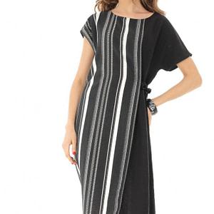 rochie midi neagra cu maneca scurta roh dr3779 8245 1