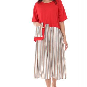 rochie midi oversize in 2 tonuri red crem roh dr4146 9288 1