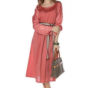 rochie midi peach cu maneci lungi roh dr3726 8071 1