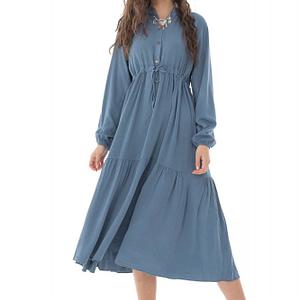 rochie midi roh denim cu maneca lunga dr4250 9680 1