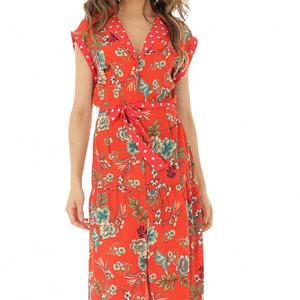 rochie midi rosie cu imprimeu floral si buline roh dr3806 8300 1