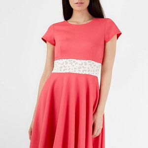 rochie midi roz cu aplicatie in talie roh cld1080 8192 1