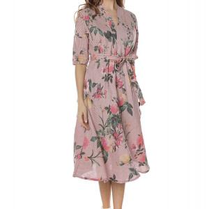 rochie midi roz cu imprimeu trandafiri roh dr3738 8089 1