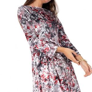 rochie multicolora roh din catifea dr3169v 7855 1