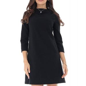 rochie neagra chic cu guler scurt roh dr4045 9023 1