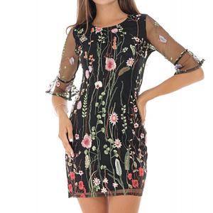 rochie neagra cu broderie florala roh dr3946 8734 1