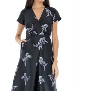 rochie neagra cu flori lila dr3150 6277 1