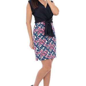 rochie neagra cu fusta imprimata cld388 5259 1