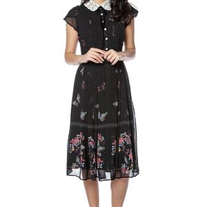 rochie neagra cu guler crosetat roh dr4132 9240 1