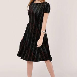 rochie neagra de ocazie cu dungi metalice multicolore roh dr4040 8988 1