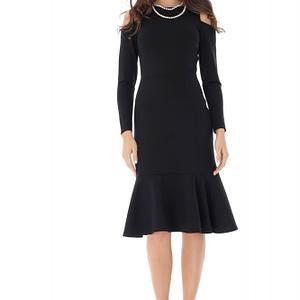 rochie neagra eleganta cu volane roh dr4066 9090 1