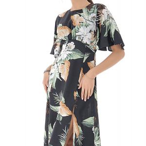 rochie neagra imprimata floral midi roh dr4074 9113 1