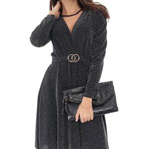 rochie neagra petrecuta cu lurex si decolteu in v roh dr4054 9066 1