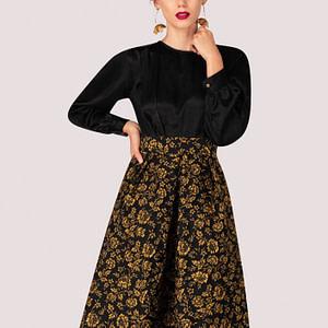 rochie neagra roh cu fusta inflorata dr3650 7803 1
