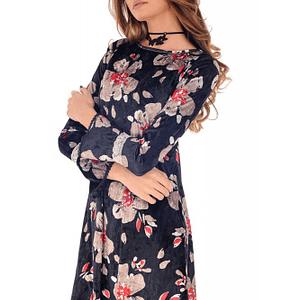 rochie neagra roh cu imprimeu floral rosu dr3691 7975 1