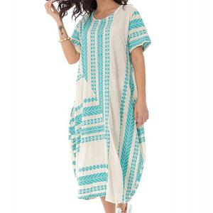 rochie oversize cu broderie azteca turq roh dr4168 9368 1
