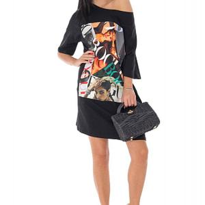 rochie oversize cu piesa imprimata negru roh dr4185 9450 1
