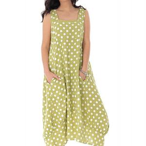 rochie oversize din in cu buline lime roh dr4172 9374 1